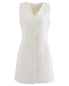 Button Down Sleeveless Shimmer Tweed Dress in Ivory