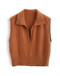 Collared V-Neck Knit Vest in Orange
