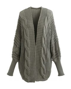 Open Front Batwing Sleeve Cable Knit Cardigan in Sage