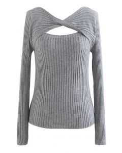 Twisted Cut Out Fitted Knit Top in Grey