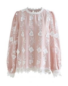 Embroidered Floral Eyelet Top in Pink