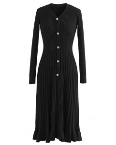 Button Front Ribbed Knit A-line Midi Dress in Black