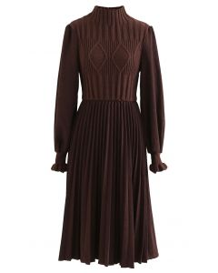 Cable Knit Spliced Pleated Midi Dress in Brown