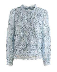 Clover Crochet High Neck Top in Blue