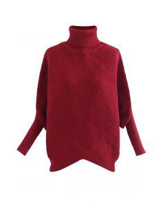 Turtleneck Batwing Sleeve Asymmetric Knit Sweater in Burgundy