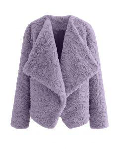 Wide Lapel Snug Faux Fur Coat in Purple