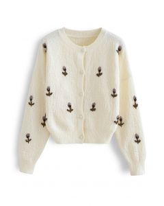 Button Down Stitched Posy Knit Cardigan in Ivory