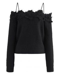 3D Floral Crochet Edge Off-Shoulder Soft Knit Top in Black