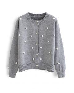Contrast Pom-Pom Ball Knit Cardigan in Grey