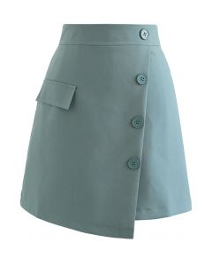 Buttoned Fake Pocket Flap Mini Skirt in Teal