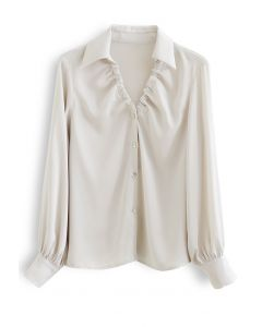 Ruched V-Neck Button Down Satin Top in Ivory