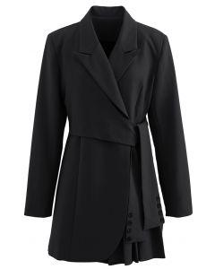 Tie Waist Pleated Pad Shoulder Blazer Dress in Black