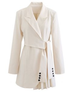 Tie Waist Pleated Pad Shoulder Blazer Dress in Ivory