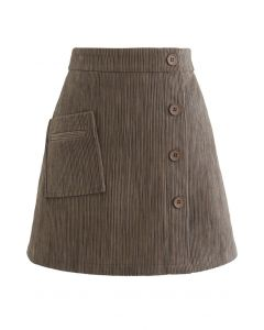 Button Decorated Corduroy Mini Bud Skirt in Brown