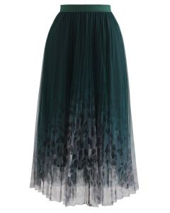 Spot Print Gradient Mesh Pleated Skirt in Dark Green