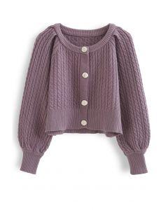 Braid Knit Button Down Crop Cardigan in Purple