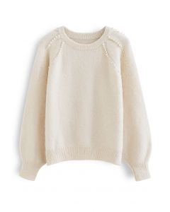Pearly Shoulder Fuzzy Knit Sweater in Cream