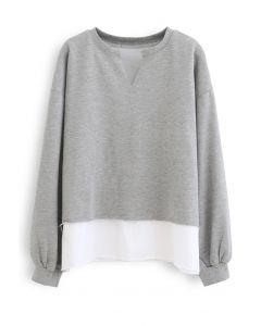 Fake Two-Piece Raw Cut Hem Sweatshirt in Grey