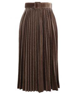 Belted Velvet Full Pleated Midi Skirt in Caramel