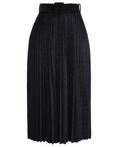 Belted Velvet Full Pleated Midi Skirt in Black