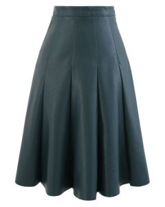 Faux Leather Seam Detail Pleated Skirt in Dark Green