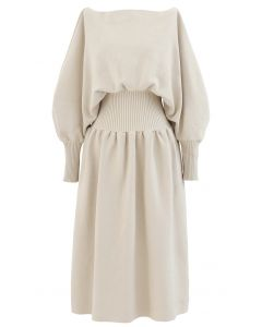 Off-Shoulder Dolman Sleeves Knit Dress in Light Tan