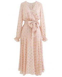 Oval Dots Semi-Sheer Split Wrap Dress in Nude Pink