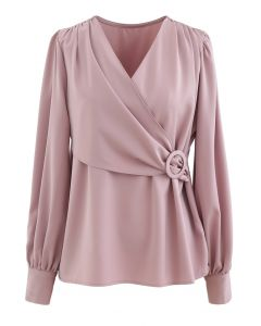 O-Ring Flap Satin Top in Pink