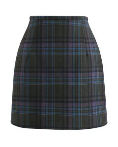 Wool-Blend Check Print Mini Skirt in Plum