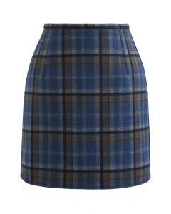 Wool-Blend Check Print Mini Skirt in Blue