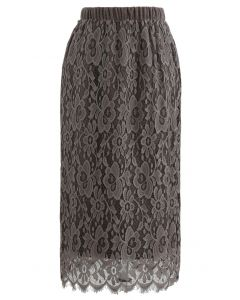 Reversible Soft Knit Lace Midi Skirt in Taupe