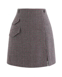 Flap Pocket Houndstooth Check Wool-Blend Mini Skirt