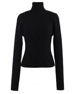 Padded Shoulder Ribbed Knit Sweater in Black
