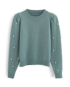 Pearl Trim Sleeves Ribbed Knit Sweater in Green