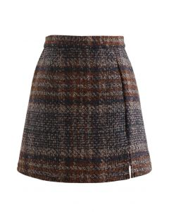 Check Print Wool-Blend Mini Bud Skirt in Caramel