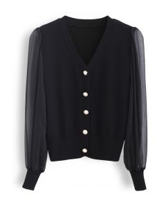 Button Down V-Neck Sheer Sleeves Knit Top in Black