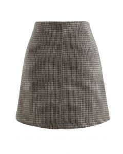 High Rise Textured Wool Blend Mini Skirt in Olive