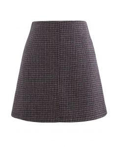 High Rise Textured Wool Blend Mini Skirt in Wine