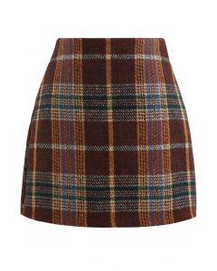 Classic Plaid Wool-Blend Mini Skirt in Caramel