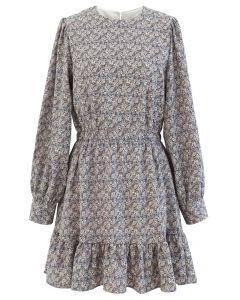 Floral Ruffle Hem Long Sleeves Mini Dress in Grey