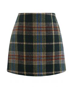 Classic Plaid Wool-Blend Mini Skirt in Green
