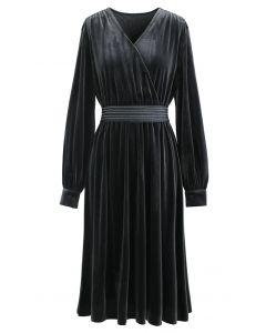 V-Neck Belted Velvet Wrap Dress in Grey