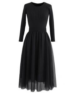 Elasticated Waist Knit Splice Mesh Dress in Black