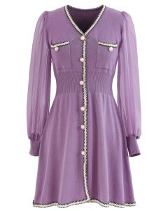 Sheer-Sleeve V-Neck Buttoned Knit Dress in Lilac