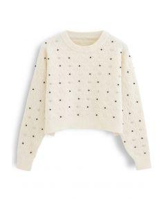Beads Trim Textured Crop Sweater in Ivory