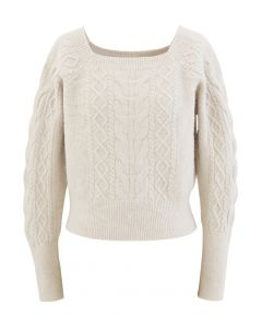 Cropped Square Neck Braid Knit Sweater in Ivory