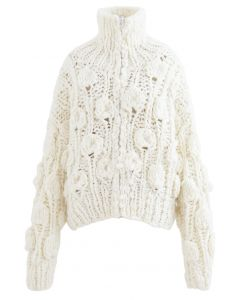 Zipper Turtleneck Pom-Pom Chunky Cardigan