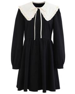 Detachable Collar Button Down Coat Dress in Black