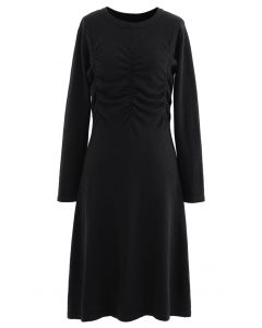 Ruched Front Flare Knit Midi Dress in Black