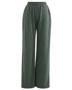 Olive Slouchy Pockets Wide-Leg Pants